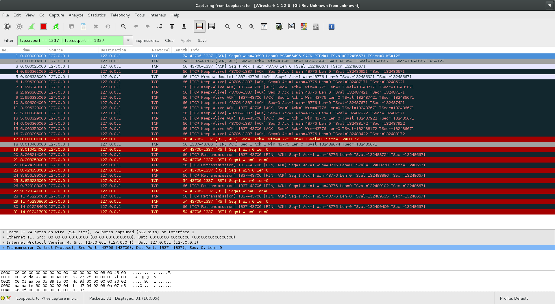 Wireshark screenshot KEEPALIVE